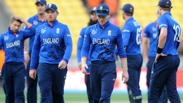 Familiar feeling: England trudge off the pitch after another World Cup defeat.