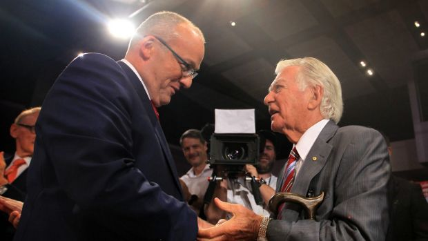 Bob Hawke was one of many Labor grandees present at the launch in Campbelltown.