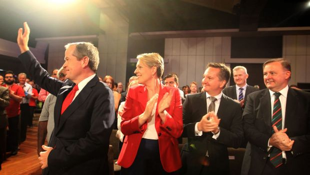 Among friends: (Left to right) Federal Labor leader Bill Shorten; Tanya Plibersek; Chris Bowen; Anthony Albanese.