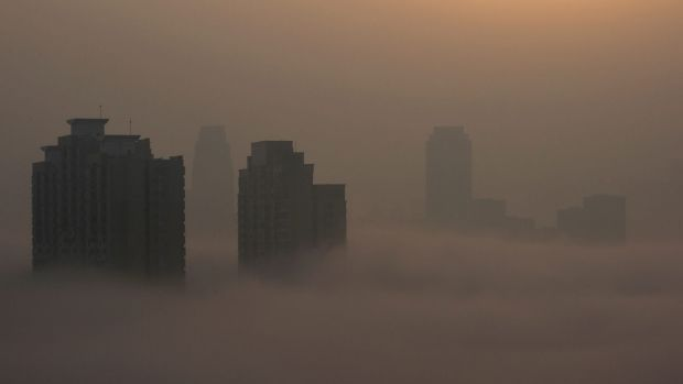 Heavy air pollution in Wuhan city in China in February.