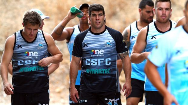 Michael Ennis, centre, turned down a massive offer from the Raiders to join the Sharks.