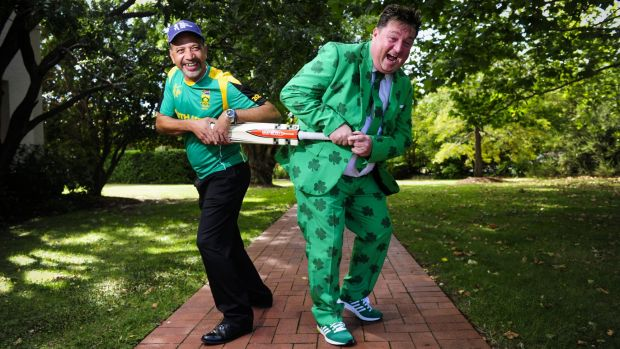Latief Mazema (left),of Jerrabomberra, and Shay Livingstone, of Ireland, will be at Manuka Oval in Canberra to see ...