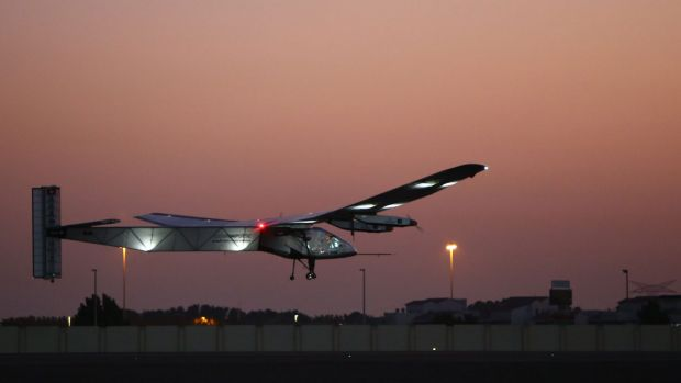 Bertrand Piccard, one of the two Swiss pilots of the solar-powered plane Solar Impluse 2, takes off from the Emirati ...