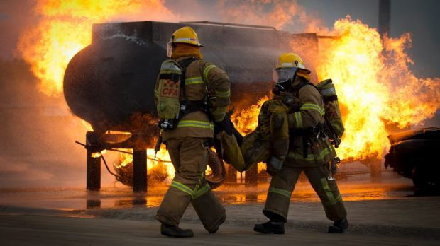 Firefighters undergoing training at the Fiskville facility.