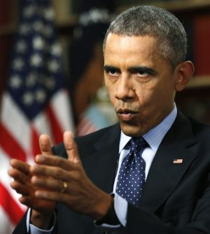 US President Barack Obama is interviewed in the Library of the White House on Monday.