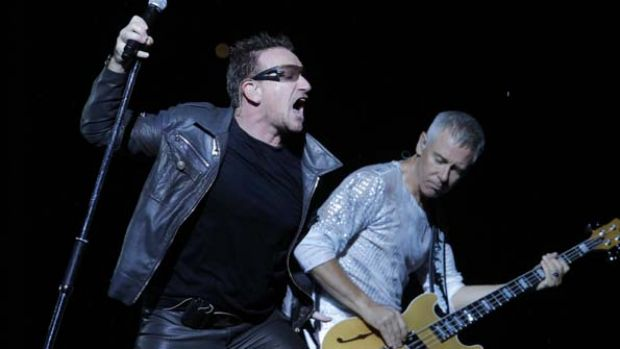 Bono and Adam Clayton perform in Moscow.