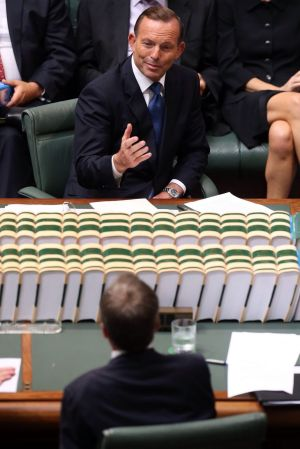 Climbing off the canvas: Tony Abbott trades verbal blows with Bill Shorten in Parliament on Tuesday.