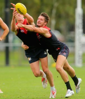 Jesse Hogan (right) during a training session on Tuesday.