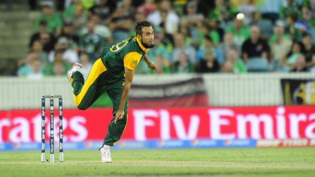 South Africa bowler Imran Tahir had a run-in with a spectator at Manuka Oval.