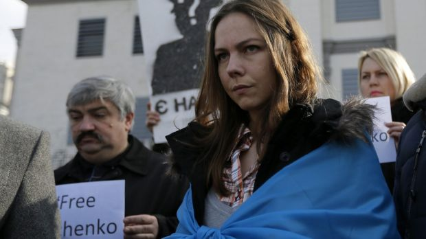 Vera Savchenko, the sister of Nadezhda Savchenko, stands at a protest rally outside the Russian Embassy in Kiev, Ukraine.