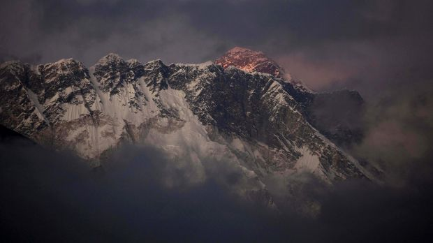 Not a toilet: The last light of the day sets on Mount Everest, Nepal.