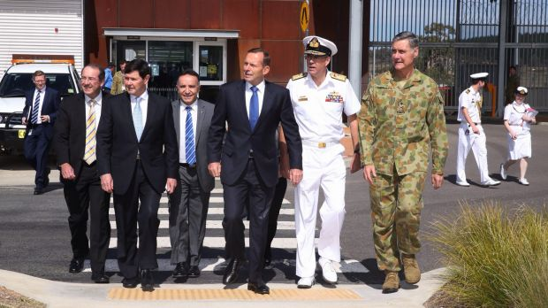 Prime minister Tony Abbott visits the Joint Operations Command Headquarters near Canberra in March 2015.