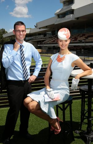 Face of Canberra Racing Emily Dibden with Andrew Clark of Giralang in Marquee 1 at Thoroughbred Park ahead of the 2015 ...