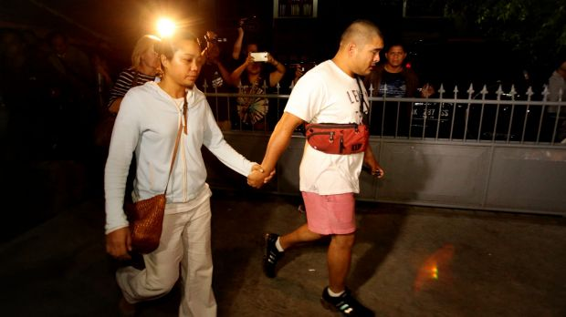 Febyanti Herewila and Andrew Chan's brother, Michael. leave Bali's Kerobokan prison after being refused a final visit ...
