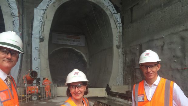 Gladys Berejiklian and Rodd Staples at the North West Rail Tunnel site.