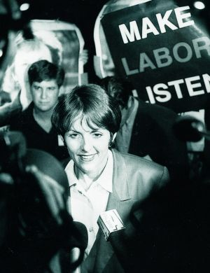 Liberal leader Kate Carnell on election night 1995, after it became clear she would become chief minister.