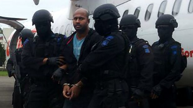 Executions delayed: Myuran Sukumaran arrives at Cilacap airport en route to Nusakambangan.