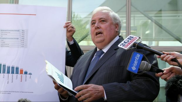 Palmer United Party leader Clive Palmer during a press conference at Parliament House on Wednesday.