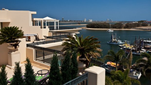 Views from the rooftop garden overlook the Broadwater.
