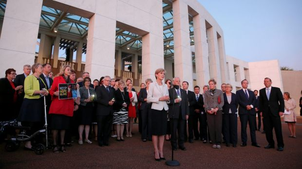 Foreign Minister Julie Bishop speaks during the candlelight vigil.