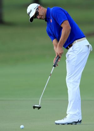 Adam Scott of Australia using a standard length putter in practice this week.