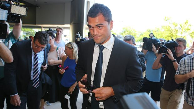 In strife: Karmichael Hunt arrives at Southport Magistrates Court on Thursday.