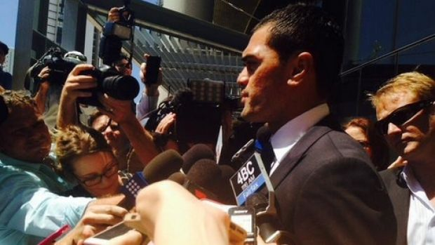 Karmichael Hunt fronts the media after emerging from court.