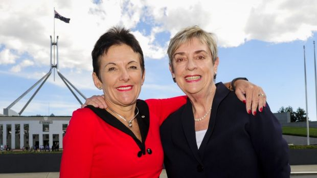 Former chief ministers Kate Carnell and Rosemary Follett outside Parliament House, 20 years after their election face-off.