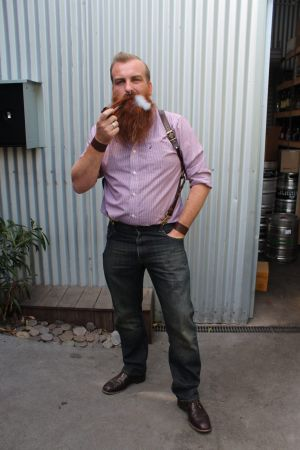 Beard enthusiast Erin O'Neill is dressed up for a night at The Laird.