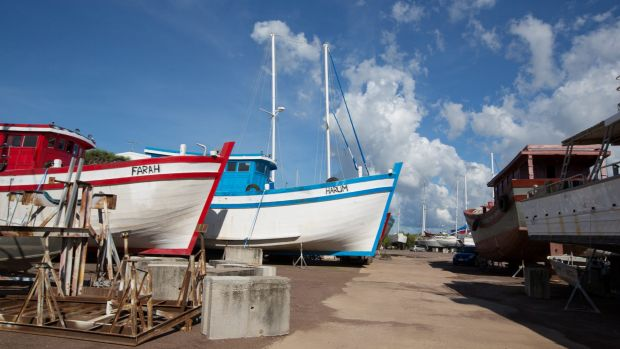 Two of the Vietnamese fishing boats in a Darwin boat yard on Thursday.