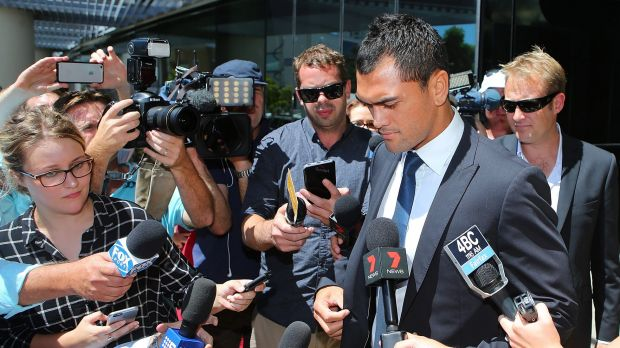 Poor choice: Reds five-eighth Karmichael Hunt leaves court on Thursday.