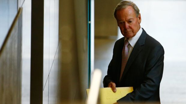Former Knox Grammar headmaster Ian Paterson leaves the royal commission after giving evidence on Friday.