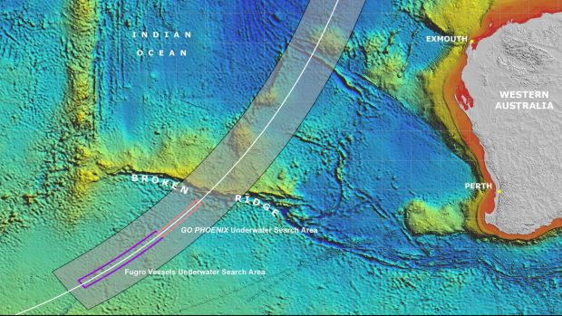 A map of the broad and narrow MH370 search areas.