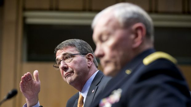 US Defence Secretary Ash Carter, left, testifies before the Senate Armed Services Committee on Tuesday, March 3, flanked ...