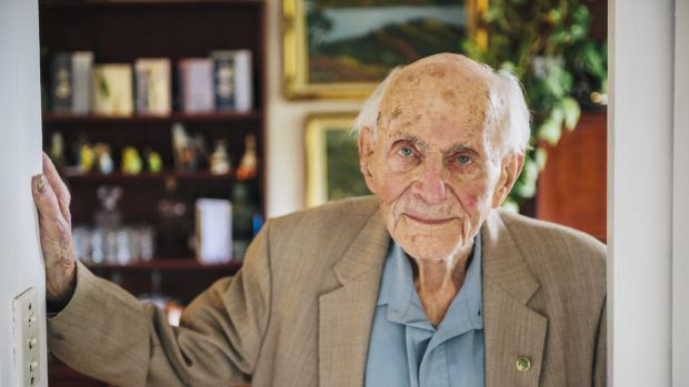 Victor Lederer at home on his 100th birthday last October.