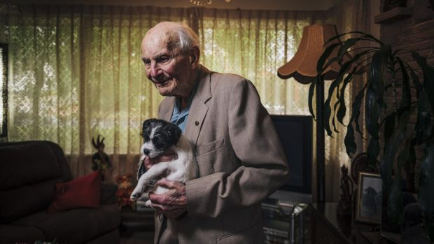 Victor Lederer, pictured with his puppy Buddy, says attitude is key to enjoying advanced age.