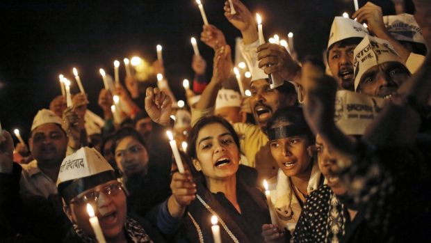 A candlelight vigil against rape in Delhi last year.