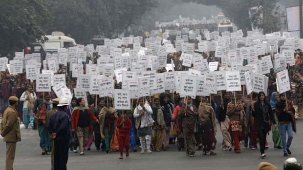 Women march against rape in the Indian capital shortly after the victim of the December 2012 New Delhi gang rape was ...