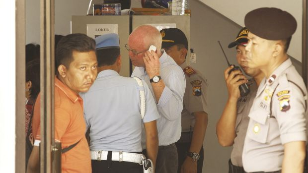 Appeal to be heard next week: Barrister Julian McMahon negotiates a visit to his clients, Andrew Chan and Myuran ...