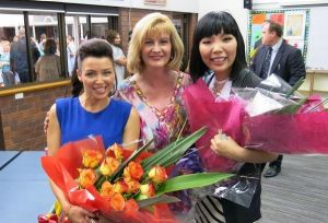 Pam Parker (centre) with with pop stars Dannii Minogue and Dami Im.