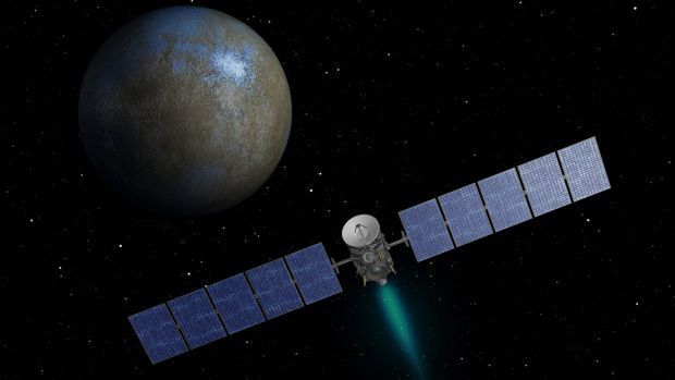 NASA's Dawn spacecraft heads toward the dwarf planet Ceres in an artist's conception.
