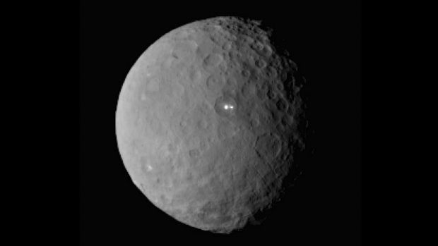 One of those bright spots on dwarf planet Ceres in a picture taken by NASA's Dawn spacecraft.