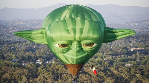 The Yoda balloon, part of the Canberra Balloon Spectacular.