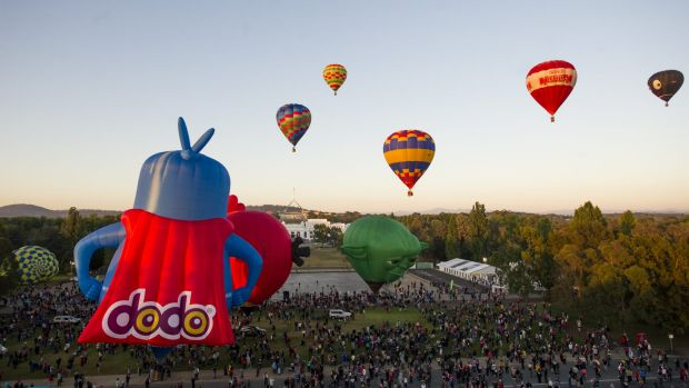 The Canberra balloon spectacular lifts off from Reconciliation Place in Canberra.