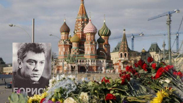 A memorial to Boris Nemtsov lies at the site of his killing in Moscow.