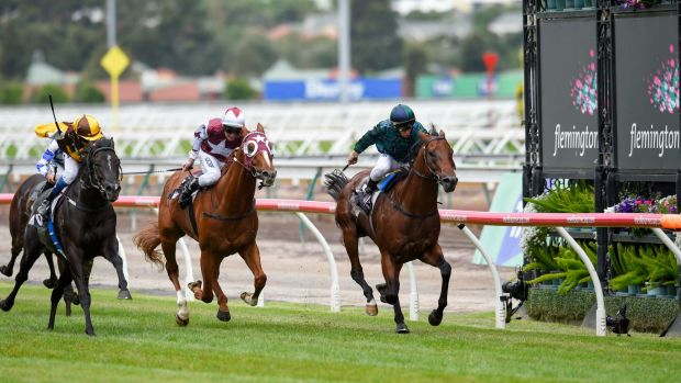 All the way: Brett Prebble drives Wandjina (right) to victory in the Australian Guineas last year.