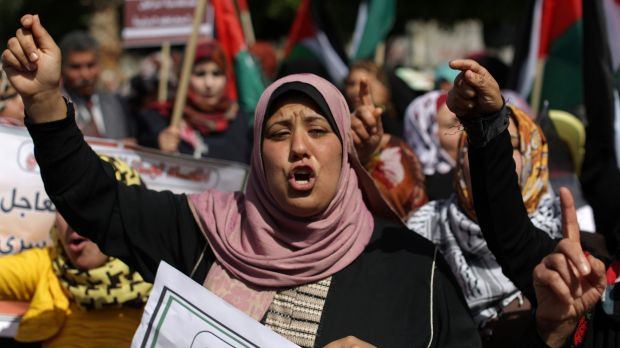 A march in Gaza City to mark International Women's Day on Saturday.