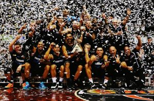 Reigning champs: The New Zealand Breakers celebrate after winning the NBL Grand Final series in March.