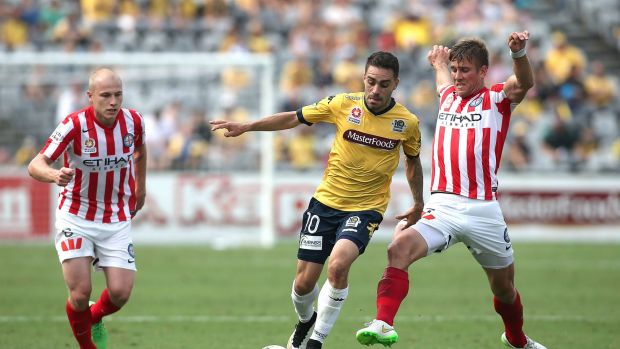 On the move: Anthony Caceres in action against Melbourne City last season.