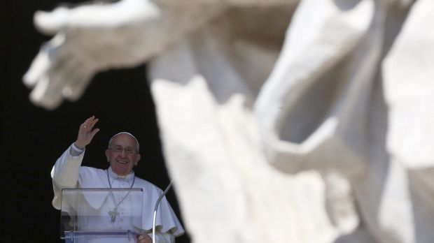 Pope Francis waves during his Sunday Angelus prayer in St Peter's Square yesterday. The Vatican later confirmed it had ...